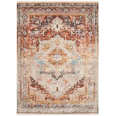 Features: -Vintage Persian collection. -Material: Polyester. -Technique: Power loomed. -Colors of the rug: washed out white, blue and red; solid colors are red, yellow, dark grey and orange. Prod