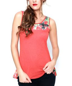 Loving this Rust Floral Panel Tank on #zulily! #zulilyfinds