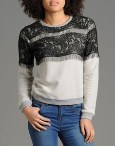 BANK Fashion - Red or DeadSquirl Lace Top Sweatshirt