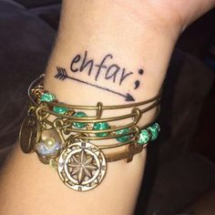 Ehfar, means everything happens for a reason, the arrow to keep me in the right direction and the semi colon representing my story isn't over.