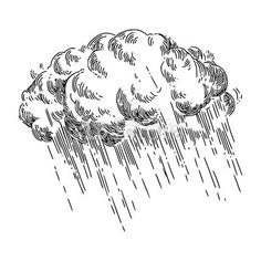 Storm cloud and rain. Rain Tattoo, Storm Tattoo, Rain Cloud Tattoos, Cloud Illustration, Ink Illustrations, Engraving Illustration, Ink Pen Drawings, Drawing Sketches, Tatuagem Old Scholl
