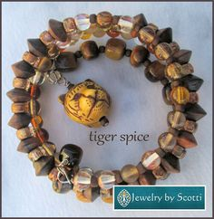 Brown Tigereye Bracelet with Carved Tiger Head by JewelryByScotti