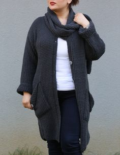 Plus Size Hand Knitted Cardigan with stylish pocke from Istanbulknit by DaWanda.com