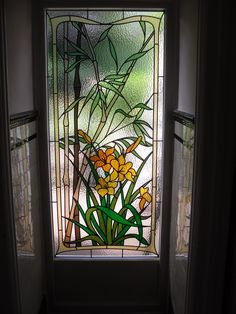 Bamboo and lily replica stained glass