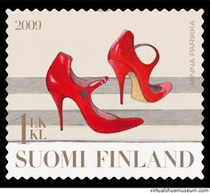 Red Stiletto High Heeled Pointed Toe Women's Shoes, with upside down heart cut outs on the sides, by the Finnish shoe designer Minna Parikka shown in Postage Stamp issued by Finland in Red Stilettos, Rare Stamps, Envelope Art, Shoe Art, Stamp Collecting, Red Shoes, Women's Shoes, Postage Stamps, Postcards