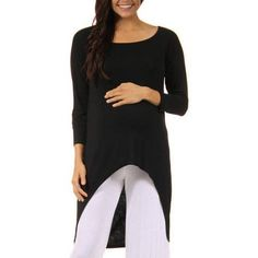 24/7 Comfort Apparel Women's High-Low Long Sleeve Maternity Tunic Top, Size: 2XL, Blue