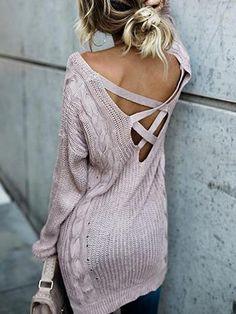 Backless Bandage Loose Sweater