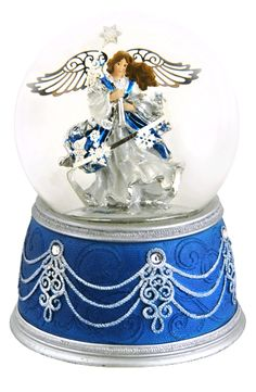 Magical Silver Snowflake Angel snow globe from snowdomes.com