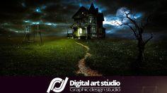 Фотомонтаж Дом с привидениями | Haunted house photomanipulation Photosho...