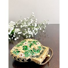 Emerald Green Enameled Cloisonne Purse Ornament Decorative Collectible... ($25) ❤ liked on Polyvore featuring home, home decor, holiday decorations, leaf ornaments, emerald green home accessories, leaf home decor, white ornaments and joy ornament