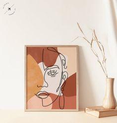 Abstract Face Fine Line Print Burnt Orange Prints Boho Art Inspiration Art, Art Inspo, Minimal Art, Art Sur Toile, Abstract Faces, Abstract Art, Arte Pop, Line Drawing, Modern Drawing