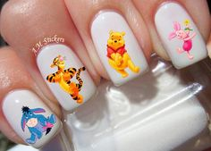 Winnie the Pooh nail decals, very pretty, bright stickers with unique designs. Winnie the Pooh nail stickers made on high quality decal paper. These decals can be applied to any type of nails (regular polish, soak off gel, hard gel and acrylic). Best Nail Art Designs, Nail Designs Spring, Toe Nail Designs, Disney Acrylic Nails, Disney Nails, Disneyland Nails, Nail Art Stickers, Nail Decals, Sugar Skull Nails