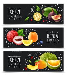 Buy Tropical Fruits Horizontal Banners by macrovector on GraphicRiver. Set of horizontal banners exotic tropical fruits with design elements isolated on chalk board background vector illus. Fruit Packaging, Packaging Design, Shop Banner Design, Colorful Desserts, Fruit Shop, Beer Recipes, Tropical Fruits, Banners, Fruit And Veg