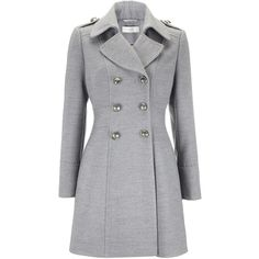 Grey Petite Military Coat ($52) ❤ liked on Polyvore featuring outerwear, coats, jackets, coats & jackets, grey, petite, gray coat, field coat, grey military coat and grey coat