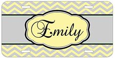 Personalized Monogrammed Chevron Yellow Grey Car License Plate Auto Tag Top Craft Case http://www.amazon.com/dp/B00MJFLE9A/ref=cm_sw_r_pi_dp_XAotub1DBW3CN