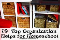 Top Homeschool Organization Helps at Hodgepodge - IKEA baskets and bookcases, chalkboard desk and more!