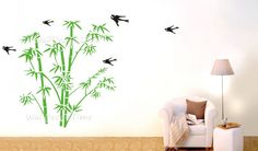 Bamboo Wall Decals Birds Vinyl Decals Wall Decor by WallDecalsTime, $72.00