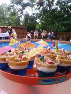 Sand Cups: Beach or Pool Party Treats --cute kids snack, or even adult jello shots/cup version