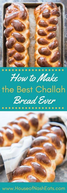 This recipe makes two gorgeous, rich, braided loaves of the best Challah Bread (sometimes called Egg Bread) you will ever eat!  Have one loaf warm out of the oven and save the other loaf for French toast a few days later!  With step-by-step photos of a six-strand braid.