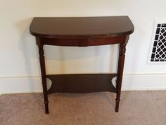 Vintage Antique Wood D Shape Hall Foyer Console Entry Table Stand Half Moon 24""