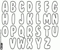 Alphabet in BubbleGum style coloring page