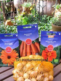 Ecotuinweetjes: Combinatieteelt van ui, wortelen, Goudsbloem en Af...