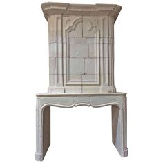 Antique Limestone Mantel with Trumeau 1