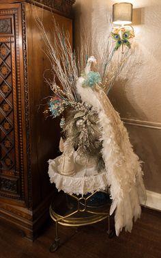 White peacock Christmas centerpiece.  Buffalo Christmas House Tour 2016