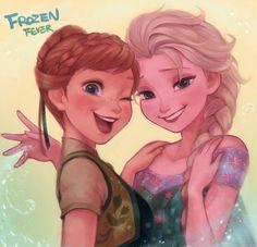 Frozen Fever Fan Art: Anna and Elsa Anna Frozen, Frozen Art, Frozen Movie, Disney Frozen, Frozen Queen, Queen Elsa, Disney Films, Disney And Dreamworks, Disney Pixar