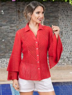 Blusa Roja Cocktail, Natural, Dresses, Women, Fashion, Embroidered Blouse, Embroidered Dresses, Hand Embroidery, Blouses