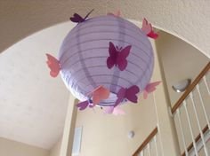 "8"" purple princess, paper lantern, butterfly lantern, wedding lantern, princess party, princess decor, princess birthday, butterfly party,"