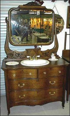 antique dresser bathroom vanity antique bathroom vanity victorian style oak dresser with beveled Small Space Bathroom, Tiny House Bathroom, Dream Bathrooms, Modern Bathroom Design, Bathroom Interior Design, Interior Ideas, White Bathroom Tiles, Bathroom Wall Cabinets, Bathroom Layout