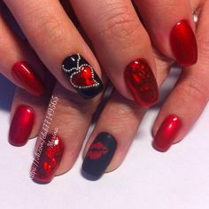 Discover new and inspirational nail art for your short nail designs. Learn with step by step instructions and recreate these designs in your very own home. Valentine's Day Nail Designs, Holiday Nail Designs, Short Nail Designs, Holiday Nails, Nails Design, Fancy Nails, Red Nails, Cute Nails, Pretty Nails
