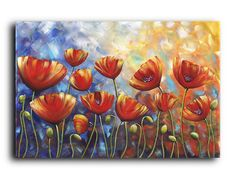 This is a beautiful landscape Red Poppies original painting. The thickness of the canvas makes a strong presentation on the wall. The colors