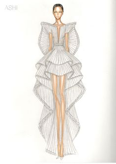 The Story Behind Cardi B's Grammys Dress - crfashionbook Dress Design Drawing, Dress Design Sketches, Fashion Design Sketchbook, Fashion Design Portfolio, Fashion Design Drawings, Fashion Design Illustrations, Clothes Design Drawing, Fashion Drawing Tutorial, Fashion Figure Drawing