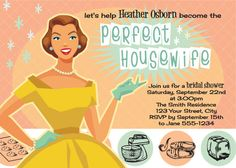a5b4be683e1 The Perfect Housewife - Printable Bridal Shower INVITATION.  18.00