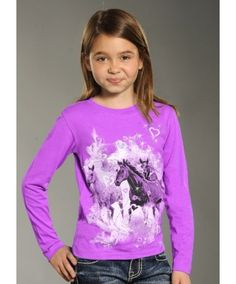 Rock & Roll Lil' Cowgirl Purple Heart & Horses Collage T-Shirt