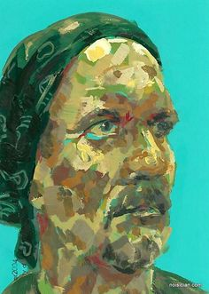 Man with Bandana, by Jeff Wrench. Acrylic on paint chip.