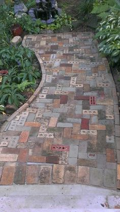 Brick walkway built from the occasional brick brick walkway he . - Brick walkway built from random brick. Brick walkway built from random brick # occasional # - Brick Walkway, Brick Path, Unique Garden, Garden Landscape Design, Landscape Fabric, Garden Paths, Brick Garden, Garden Bed, Backyard Landscaping