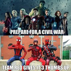Team Red is pumped for Civil War! Our tickets our bought and we even lent out Spidey for a cameo appearance. Who is hyped! Share with us what you're doing to prepare for the movie.  Cosplay by me @niteblade21 and @iammarriott. #teamred  #spiderman #deadpool #daredevil #cosplay #marvel #mcu #civilwar by spider_inferno