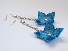 Origami paper jewelry beads tutorial New ideas Origami Jewelry, Paper Jewelry, Fabric Jewelry, Beaded Jewelry, Paper Earrings, Diy Earrings, Blue Earrings, Paper Beads Template, Origami Flowers Tutorial