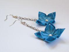 origami earrings blue flower