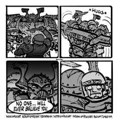 Psychological warfare by Ruo Yu Art Warhammer 40k Memes, Warhammer 40k Figures, Warhammer Art, Warhammer Fantasy, Warhammer 40000, Warhammer Games, Funny Cartoons, Funny Comics, Fold Down Work Bench