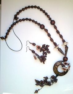 Wooden beaded necklace and earrings by insou on Etsy, $30.00