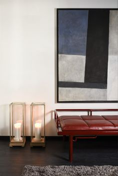 AKAR DE NISSIM's Lifestyle - Daybed OPIUM beside our Lantern SONG in Brass and solid Oak and Michel Cure Painting
