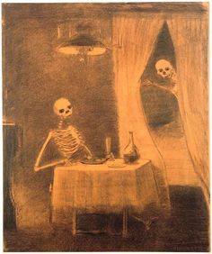 The Battle of the bones, 1881, Odilon Redon. French Symbolist Painter (1840 - 1916). SKULLS <3 anything skulls n skeletins