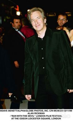 """November 3, 1999 -- Alan Rickman at the 43rd London Film Festival at the Leicester Square Theatre in London, England. Playing that night was """"Run with the Devil."""""""