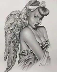 Wings project a spiritual and inspirational symbol and stand for flight. On the various other hand, in case you put on angel wings tattoo layout it expresses romantic gesture. Art Chicano, Chicano Tattoos, Body Art Tattoos, Girl Face Tattoo, Girl Tattoos, Pin Ups Vintage, Pencil Drawings, Art Drawings, Engel Tattoo