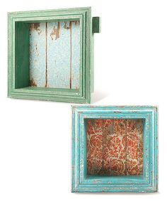 Green Vintage Shadow Box - Set of Two