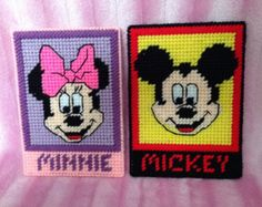 Mickey Mouse and Minnie Mouse Plastic Canvas Disney Magnets Set.
